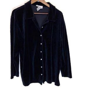 Talbots black large women's velour button down top
